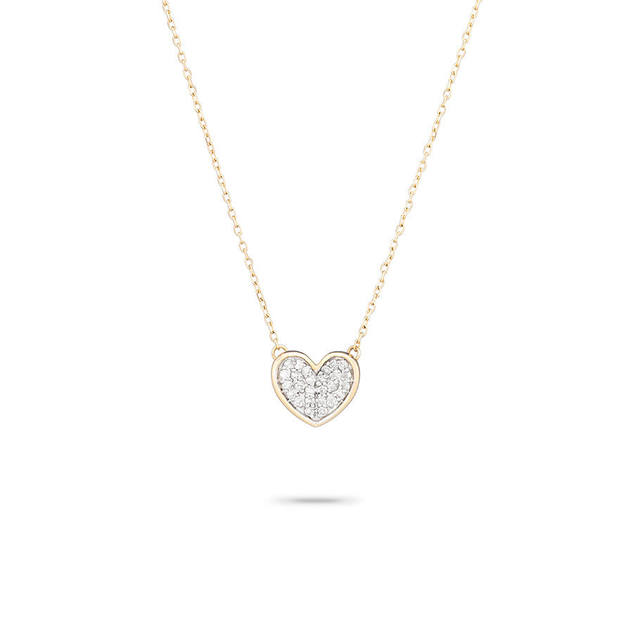 Tiny Pavé Folded Heart Necklace