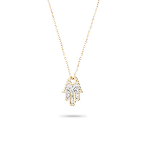 Solid Pavé Hamsa Necklace