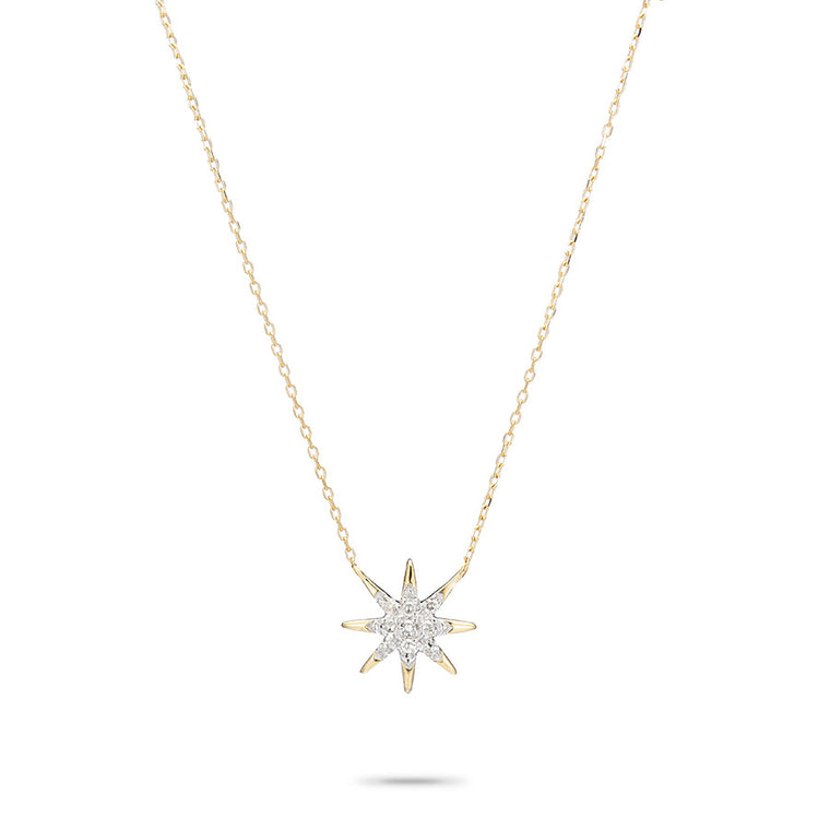 Solid Pavé Starburst Necklace