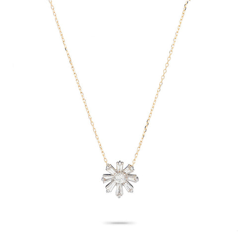 Diamond Baguette Flower Necklace