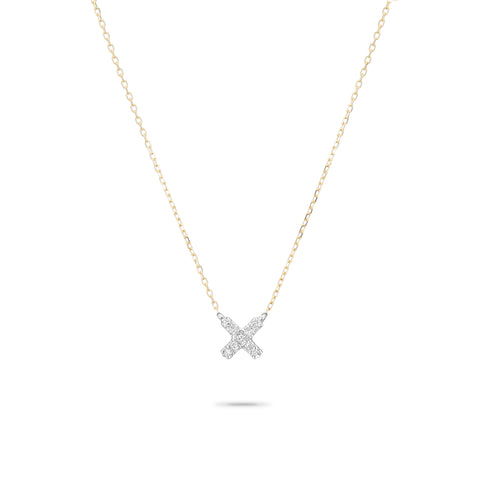 Super Tiny Solid Pavé X Necklace