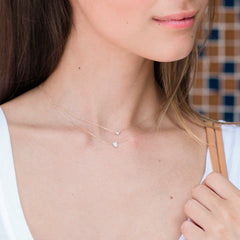 Super Tiny Solid Pavé Teardrop Necklace