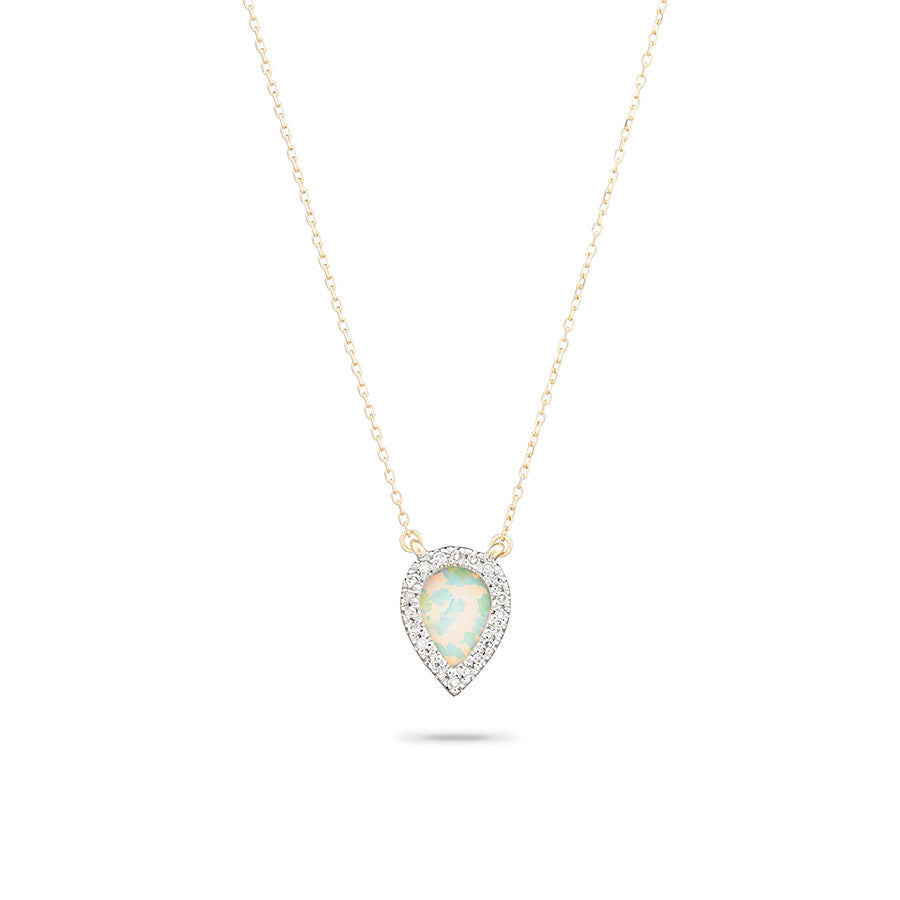 Adina Reyter 14k Gold Small Opal & Diamond Teardrop Pendant Necklace Cd82B