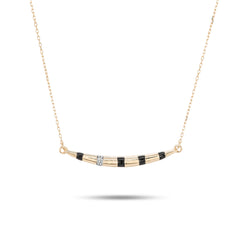 Large Enamel Diamond Stripe Curve Necklace