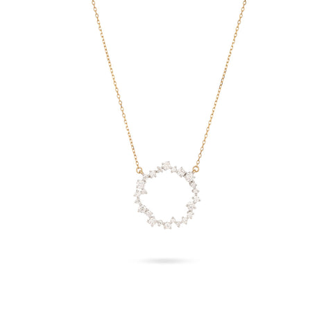 Medium Scattered Diamond Circle Necklace