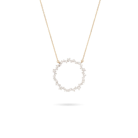 Large Scattered Diamond Circle Necklace