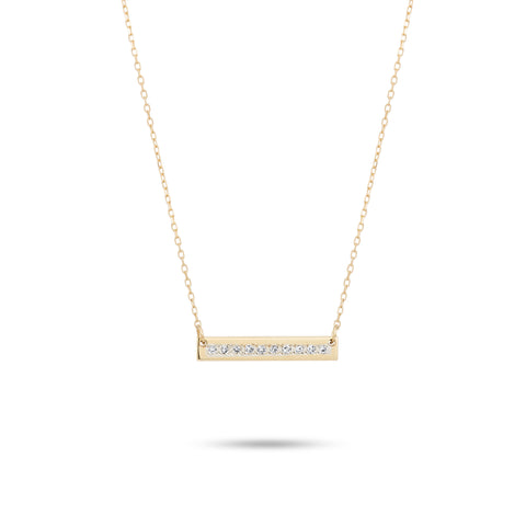 Pavé Super Tiny Rectangle Stamp Necklace