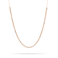 Pink Opal + Diamond Half Riviera Necklace
