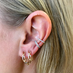 Pavé Interlocking Link Huggie Hoops