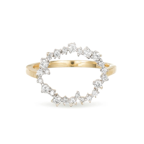 Large Scattered Diamond Circle Ring