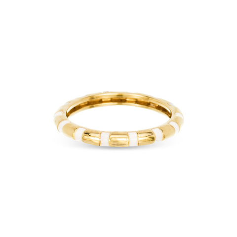 Enamel Diamond Stripe Band Ring