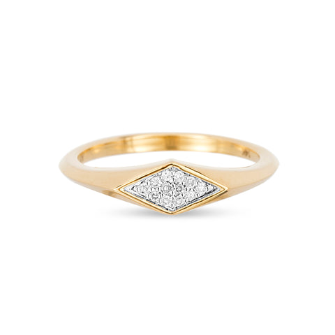 Small Pavé Diamond Signet Ring