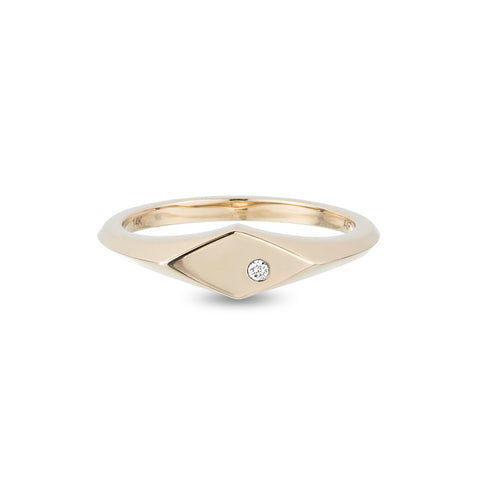 Small Diamond Signet Ring