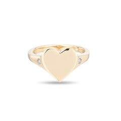 Large Heart Signet Ring