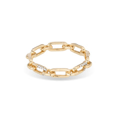 Pavé Interlocking Link Ring