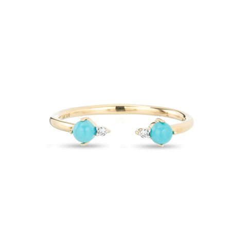 Turquoise + Round Diamond Ring