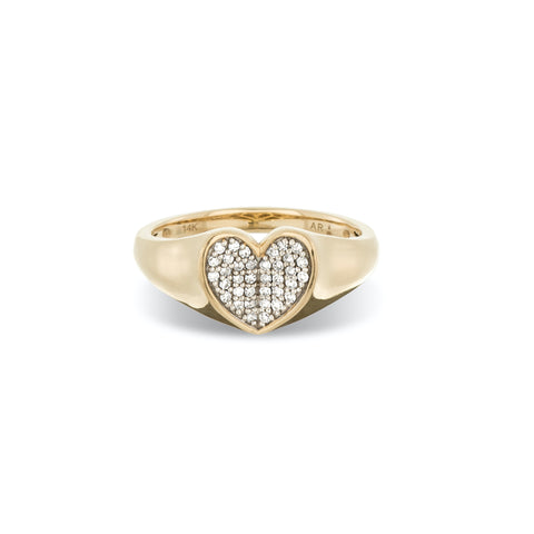 Pavé Folded Heart Signet Ring