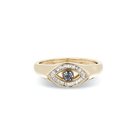 Baguette Evil Eye Signet Ring