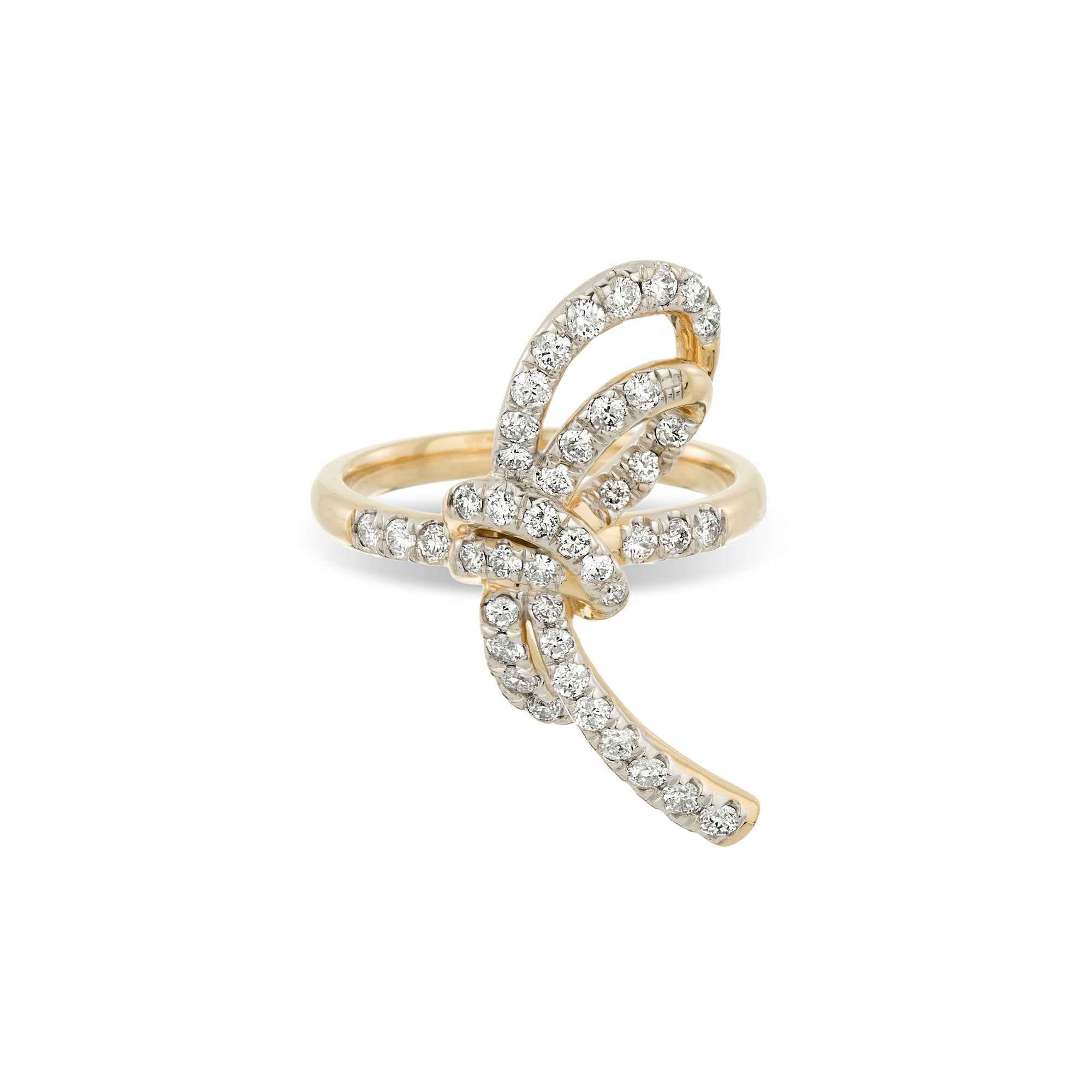 Large Pave Forget Me Knot Ring Adina Reyter