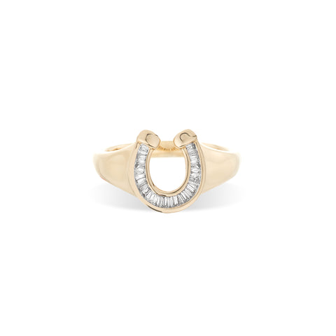Baguette Horseshoe Signet Ring