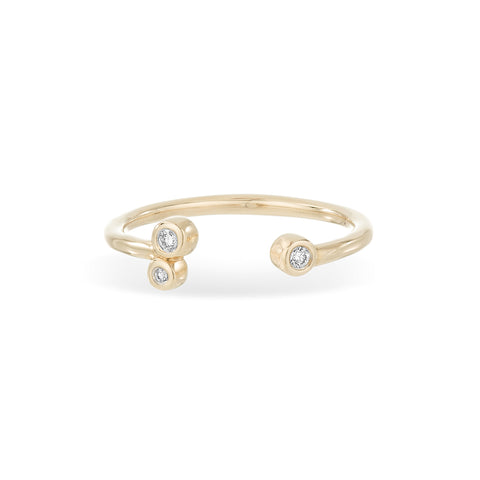 Open 3 Diamond Barnacles Ring