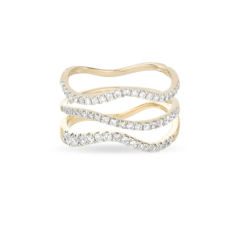 Pavé Wave Rings - Set of 3