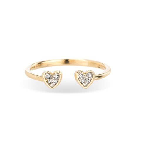 Open Pavé Folded Heart Ring