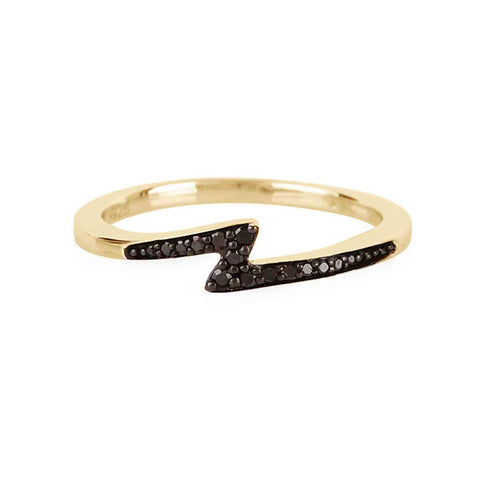 Pavé Lightning Bolt Ring w/Black Diamonds