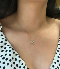 Tiny Pavé Teardrop + Marquise Cluster Necklace