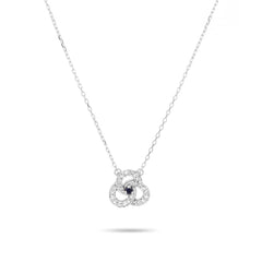 Tiny Open Diamond + Sapphire Petals Necklace