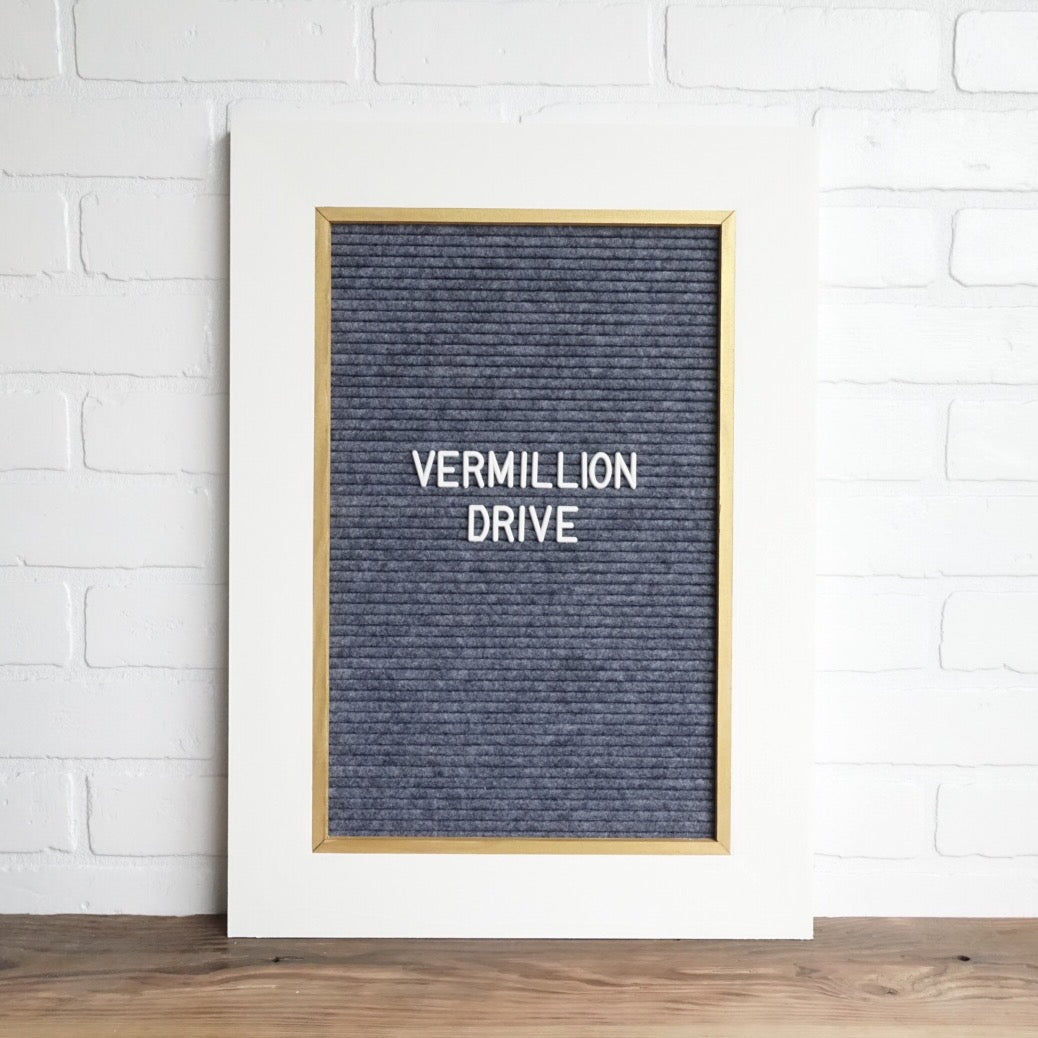 White & Gold w/ Gray - Classic Frame - Letter Board - Large