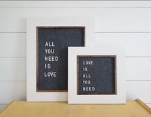 White w/ Gray - Classic Frame - Letter Board - Small