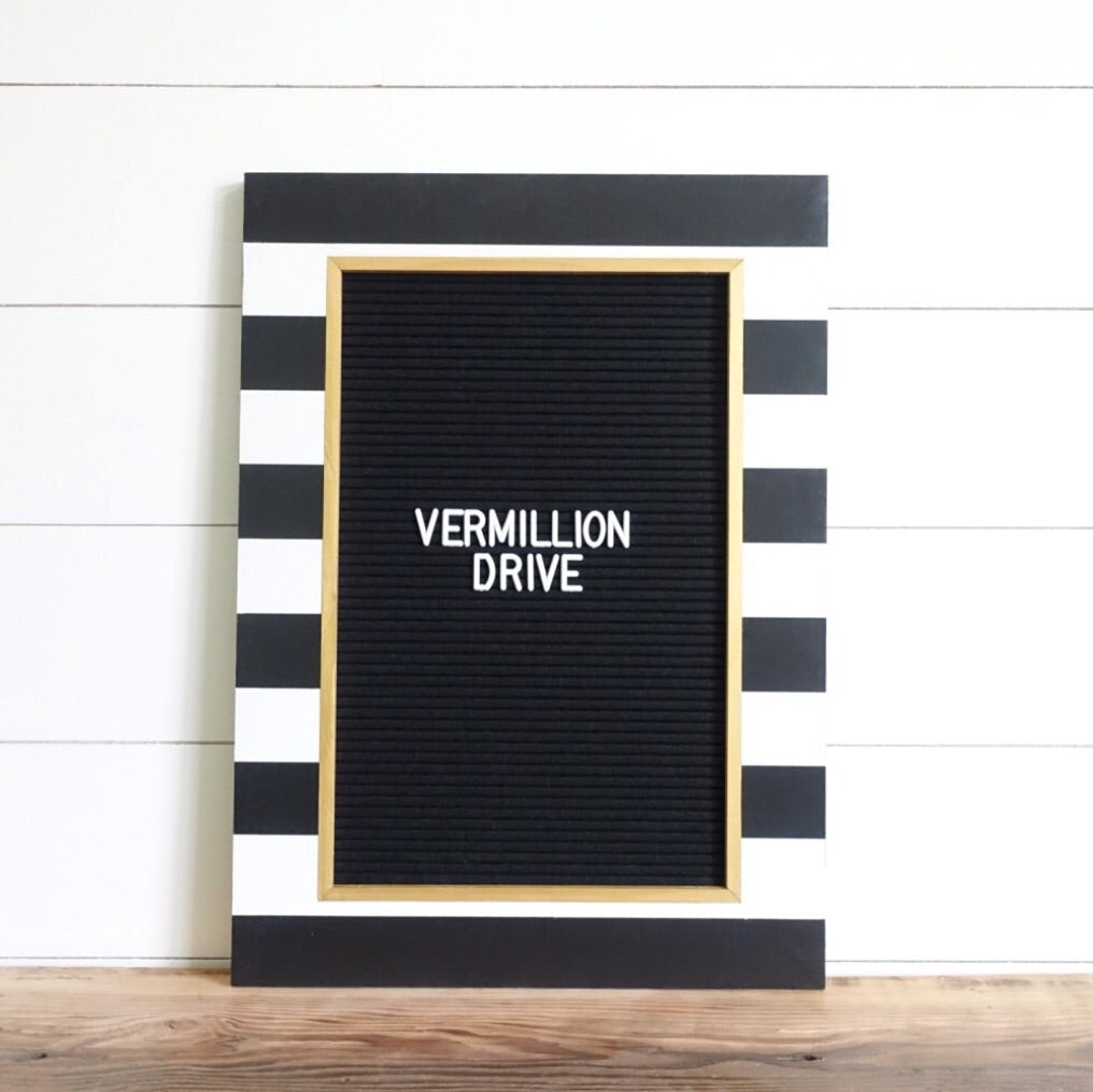 Stripe & Gold - Classic Frame - Letter Board - Large