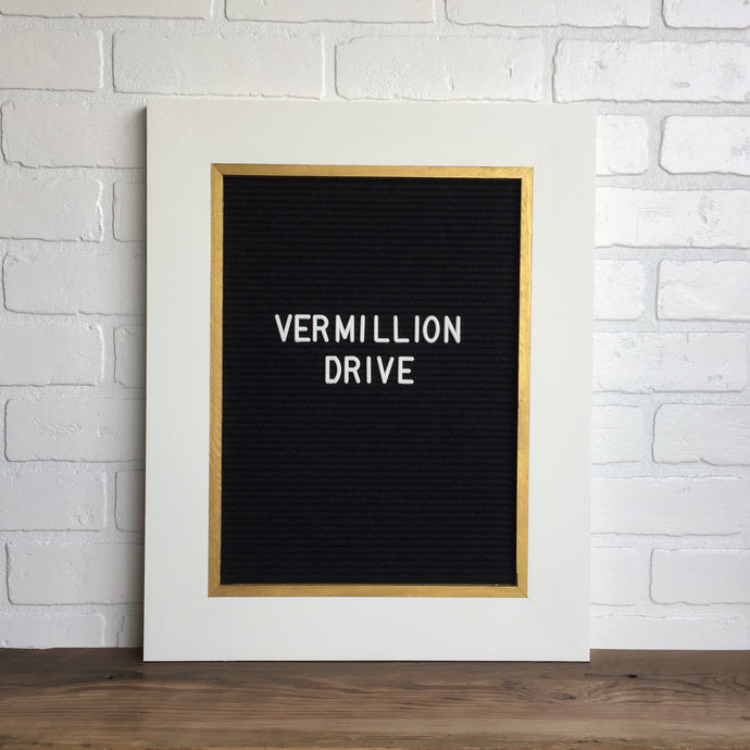 White & Gold - Classic Frame - Letter Board - Large