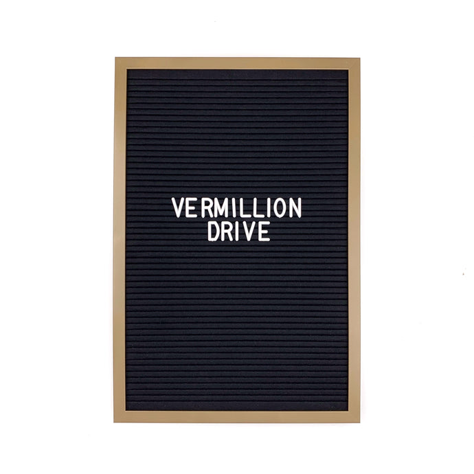 Gold Frame 12x18 - Letter Board - Black Felt - Mod Collection