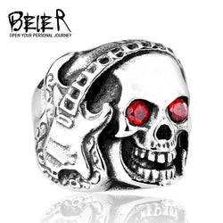 Stainless Steel high quality Skull Guitar Ring