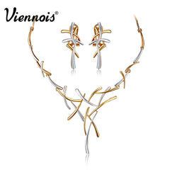Hot Viennois Silver/Gold/Gun Plated Metallic Earrings Statement Cross Jewelry Set for Women Punk Style Female Party Jewelry Sets