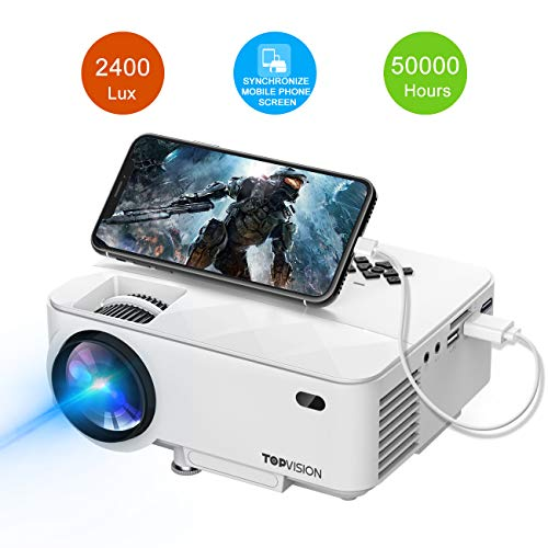 Amazon.com : Mini Projector, TOPVISION 2400Lux Projector with Synchronize Smart Phone Screen, Supported 1080P, 176