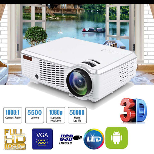 7000 Lumens 1080P Full HD Wireless Projector 3D LED Home Theater Cinema Multimedia Beamer HDMI USB AV CN/US/EU regulations - Swix Electronics, LLC