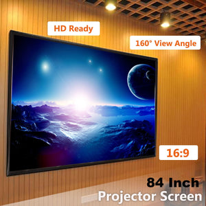 "84"" 16:9 inch Fabric Matte White Projector Projection Screen Home Theater HD - Swix Electronics, LLC"