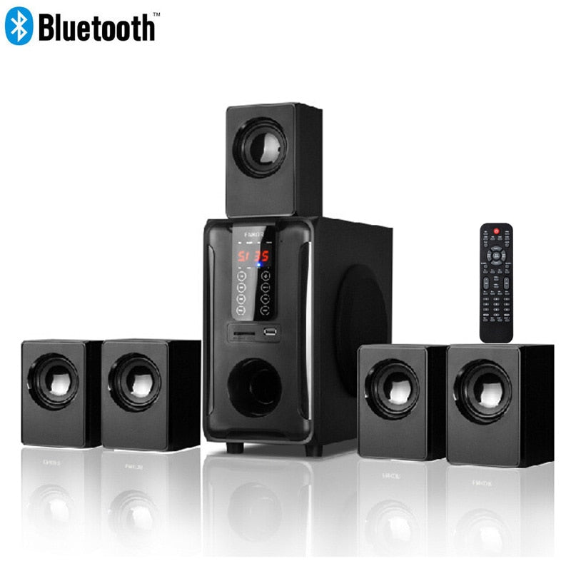5.1 Channel Home Theater Speaker System,Bluetooth\USB\SD\FM Radio Remote Control Touch Panel,Dolby Pro Logic Surround Sound - Swix Electronics, LLC