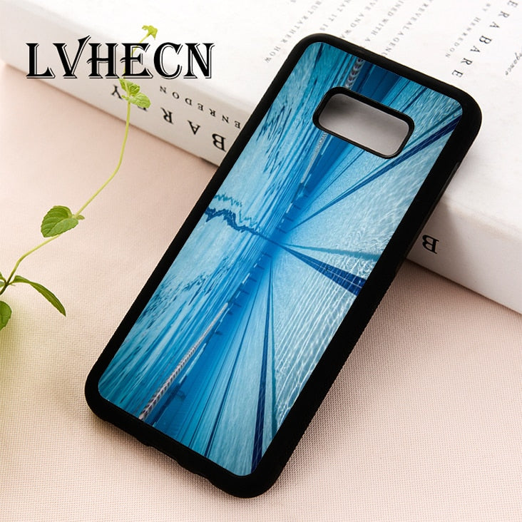 LvheCn TPU Skin phone case cover for Samsung Galaxy S5 S6 S7 S8 S9 S10 EDGE PLUS S10e Note 5 8 9 Swimmer Swimming Pool Water - Swix Electronics, LLC