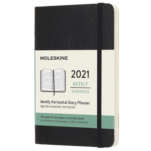 12 Month Weekly Horizontal Softcover Pocket 2021 Diary - 1 Colour Calendars + Diaries Black Moleskine