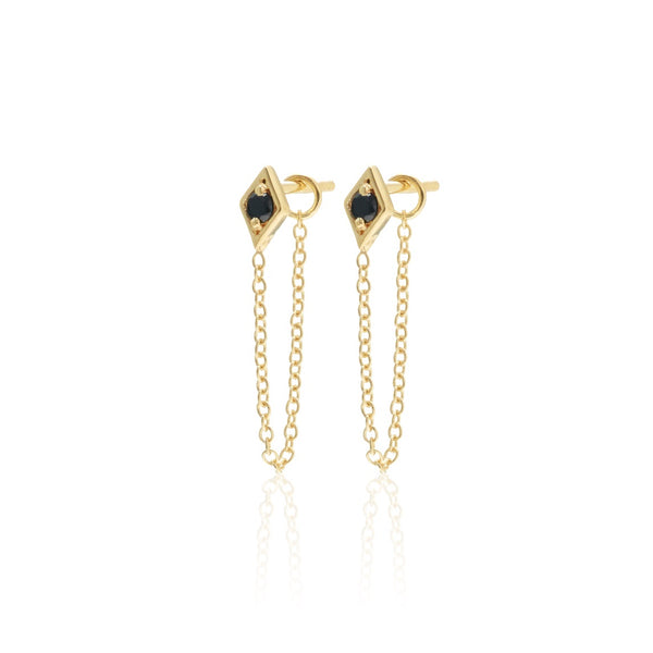 Silk & Steel Keepsake Connected Earrings, Gold and Black Spinel, $79