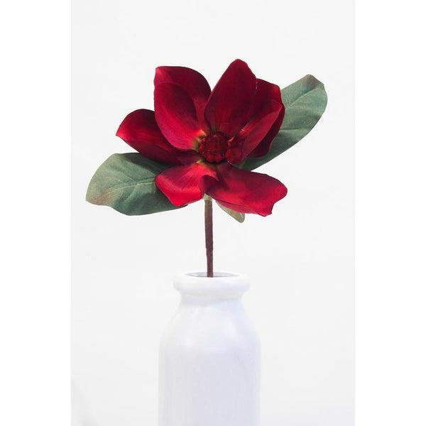 Red Magnolia With Leaves