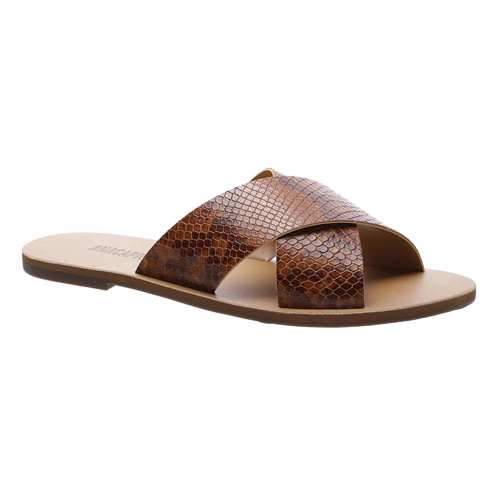 Anacapri Flat Cross Leather Sandal Whisky Snake
