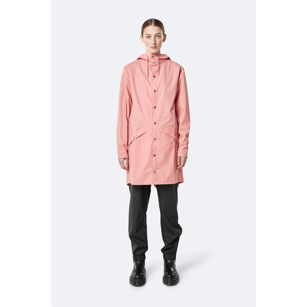 Rains Long Jacket - Coral Womens Clothing XXS/XS,XS/S,S/M,M/L,L/XL Rains