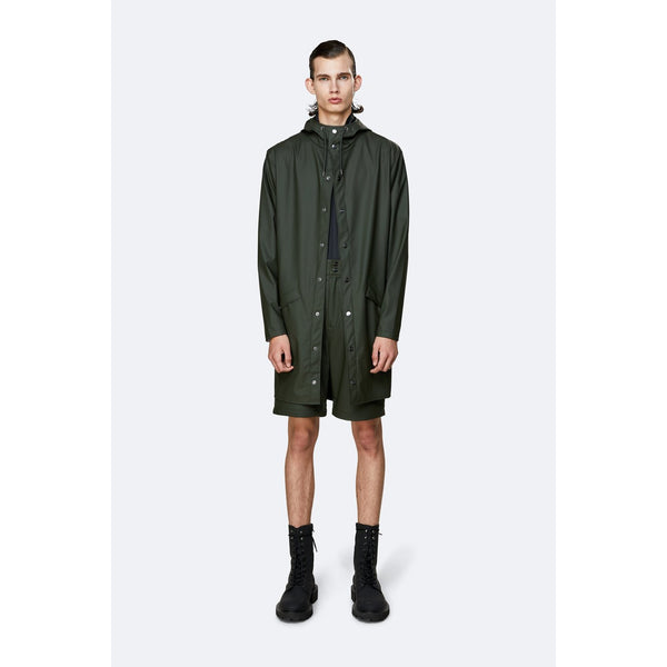 Rains Long Jacket - Green Womens Clothing XXS/XS,XS/S,S/M,M/L,L/XL Rains