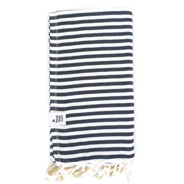 St Tropez Turkish Towel - Black Beach + Boat + BBQ Default Title Izzy And Jean