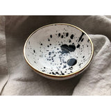 Claybird Ceramics NZ Porcelain Ring Bowl White Black and 18K Gold Black Spray
